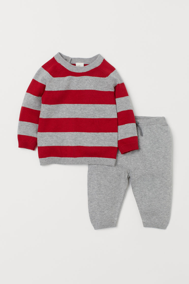 Jumper and trousers - Red/Grey striped -  | H&M