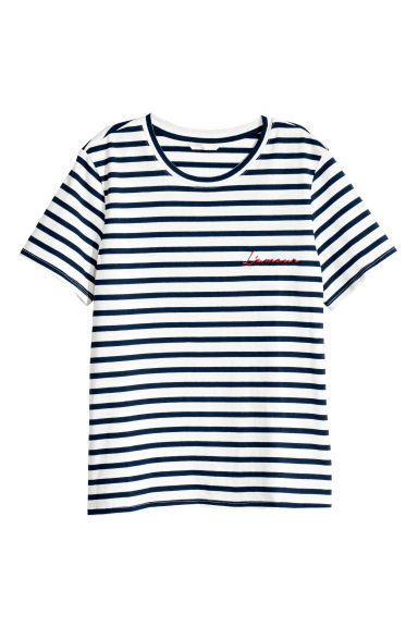 Appliquéd T-shirt - Blue striped/L'amour - Ladies | H&M CN