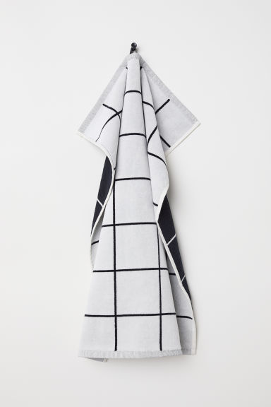 Jacquard-weave hand towel - White/Checked - Home All | H&M GB