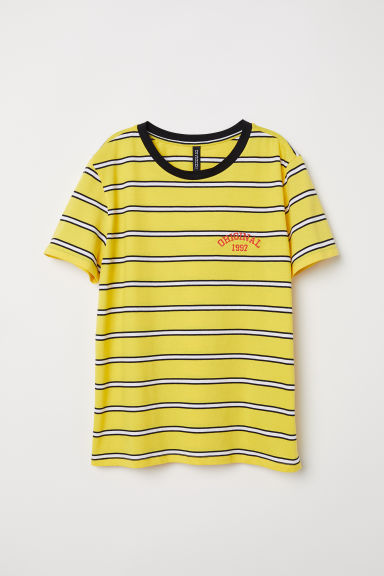 T-shirt with embroidery - Yellow/Striped -  | H&M CN