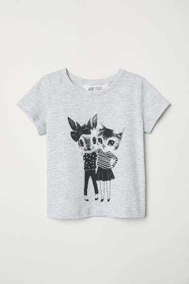 Printed T-shirt - Light grey marl/Animals - Kids | H&M