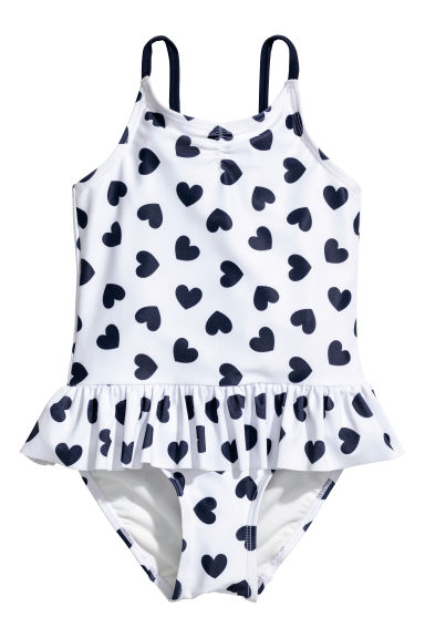 Swimsuit with a frill - White/Spotted - Kids | H&M CN