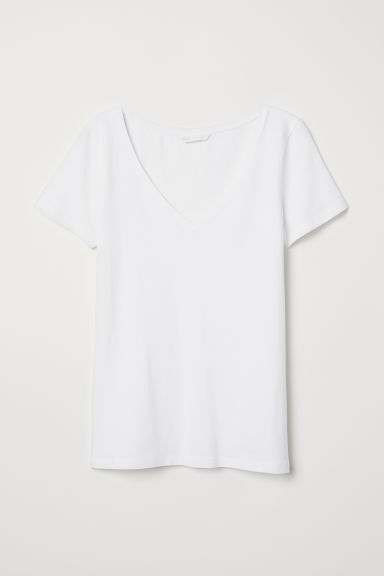 V-neck jersey top - White - Ladies | H&M CN