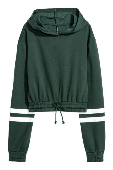 Cropped hooded top - Dark green - Ladies | H&M CN