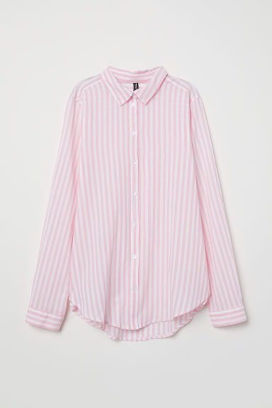 Cotton shirt - Light pink/White striped -  | H&M CN