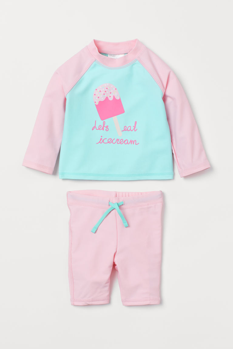 Swim Set UPF 50 - Light pink/ice cream - Kids | H&M US