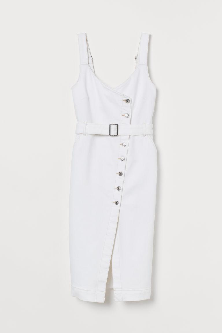 Dżinsowa sukienka na szelkach - Biały - | H&M PL 1
