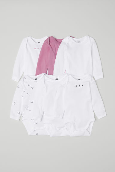 6-pack long-sleeved bodysuits - Pink/Hearts - Kids | H&M