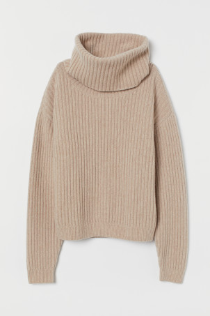 Rib-knit wool jumper