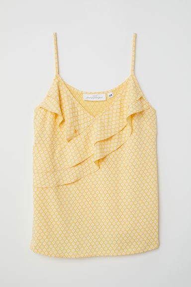 Sleeveless top - Yellow/Patterned - Ladies | H&M CN