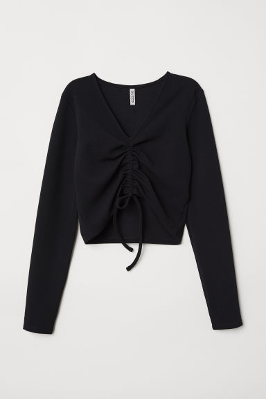 Top with Drawstring - Black -  | H&M US