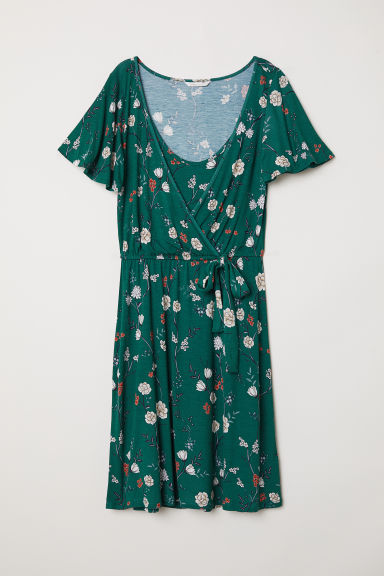 MAMA Nursing dress - Dark green/Floral - Ladies | H&M