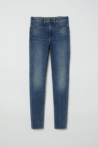 Super Skinny High Jeans - 深牛仔蓝 - Ladies | H&M CN