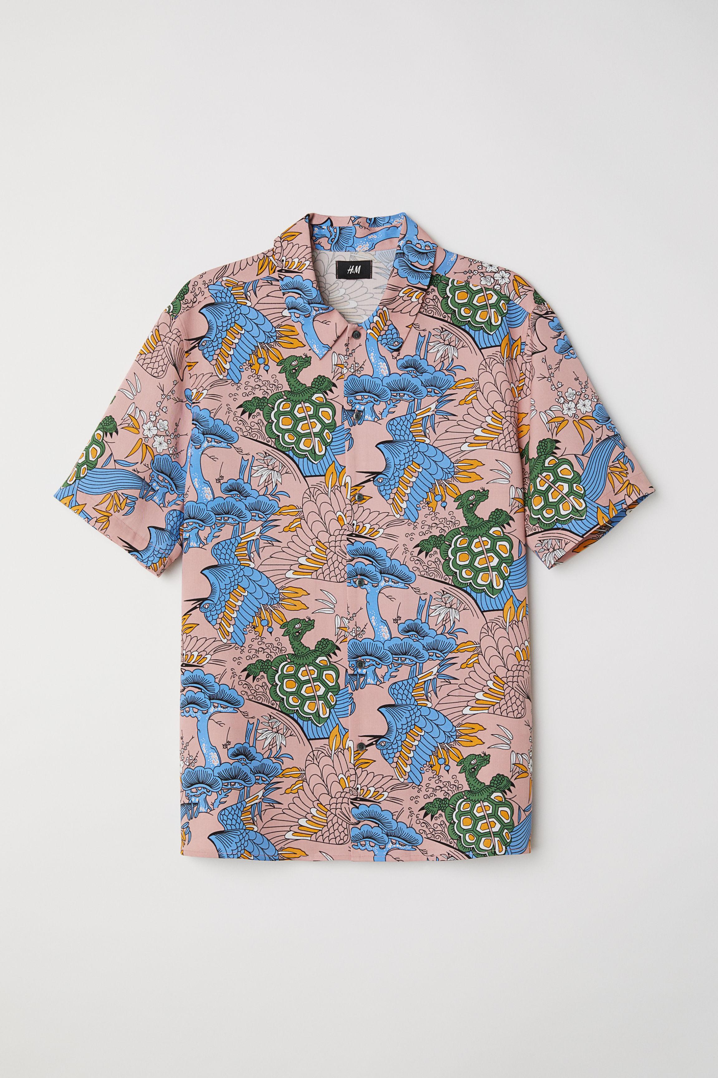 Kortärmad skjorta Regular fit - Svart Mönstrad - HERR  d897673326447