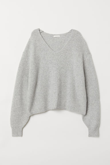 V-neck jumper - Light grey marl - Ladies | H&M CN