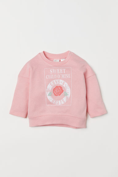 Sweatshirt with a motif - Light pink/Guns N' Roses - Kids | H&M CN
