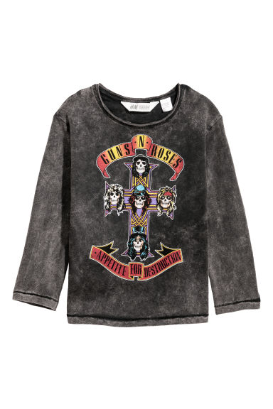 Washed-look jersey top - Dark grey/Guns N' Roses -  | H&M