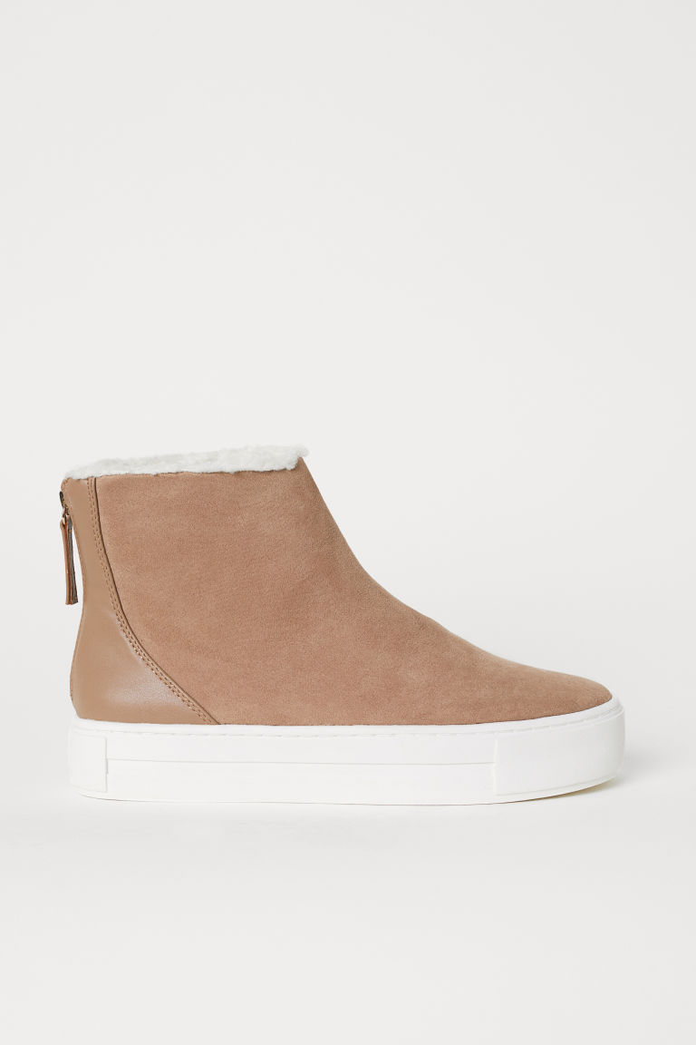 Pile-lined hi-tops - Light beige - Ladies | H&M