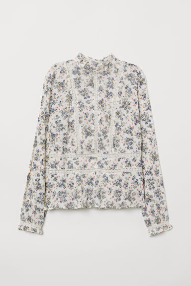 Blouse with lace embroidery - White/Floral - Ladies | H&M CN