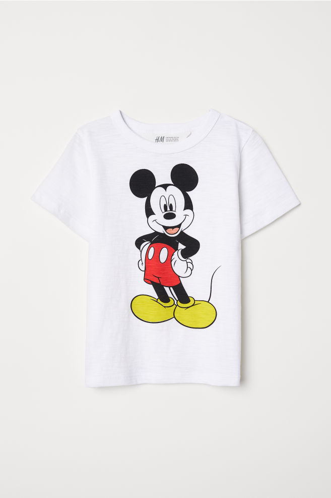 09d9a3dbb T-shirt with Printed Motif - White/Mickey Mouse - Kids | H&M US