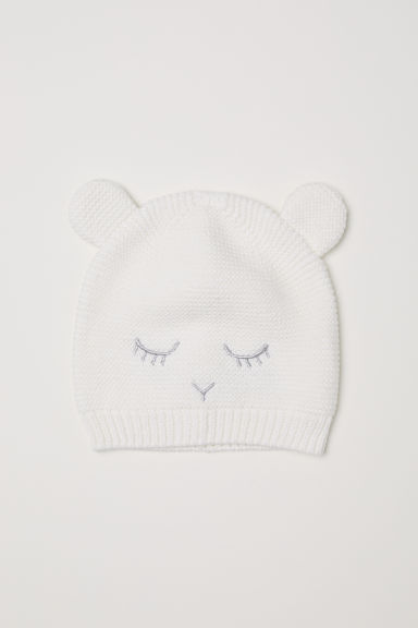 Knitted hat with ears - White - Kids | H&M