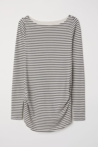 MAMA Long-sleeved jersey top - Natural white/Black striped - Ladies | H&M GB