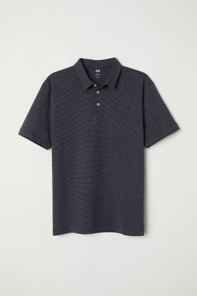 Polo Shirt Slim fit - Dark gray/striped - Men | H&M US