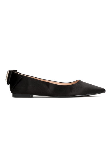 Ballet pumps with a bow - Black -  | H&M IE