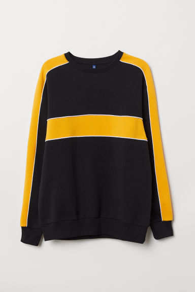 Block-patterned sweatshirt - Black/Block-coloured - Men | H&M CN