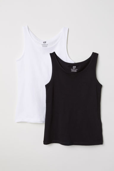 2-pack vest tops - White/Black - Kids | H&M