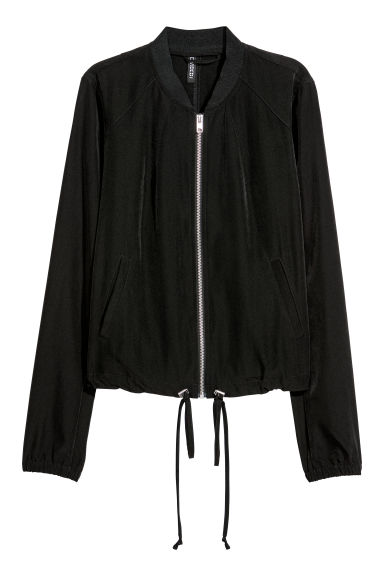 Satin bomber jacket - Black - Ladies | H&M