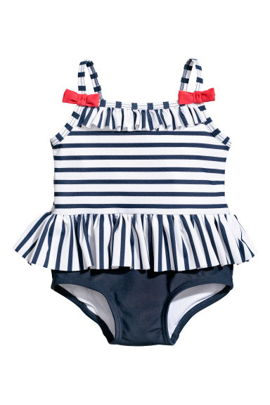 Swimsuit - Dark blue/White striped - Kids | H&M