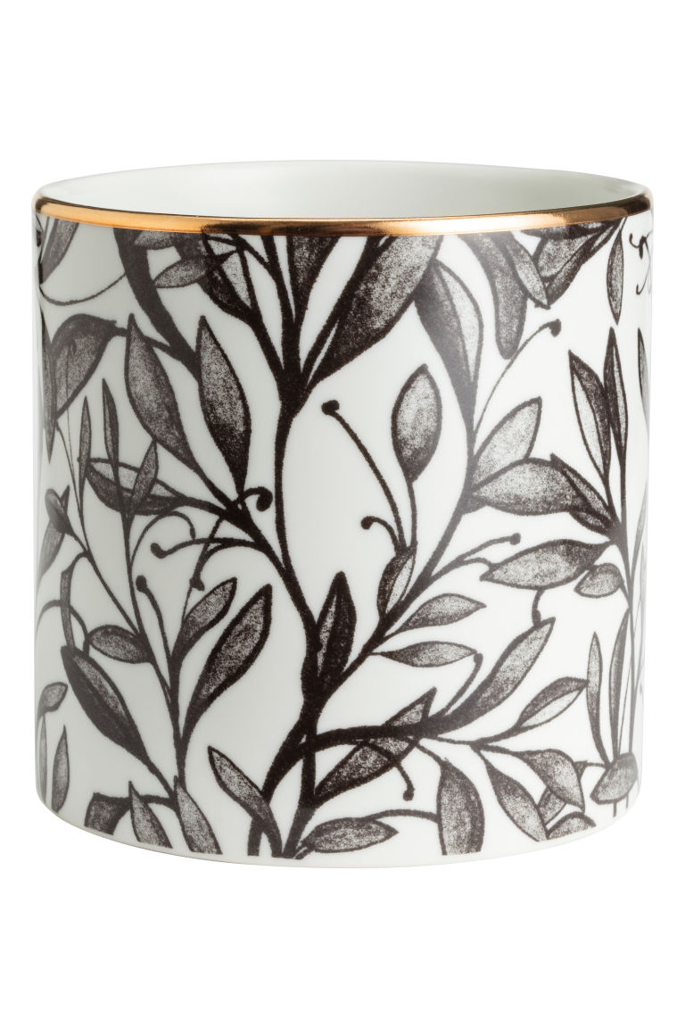Porcelain Plant Pot - White/leaf - Home All | H&M US