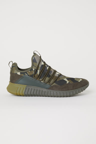 Mesh trainers - Dark khaki green/Patterned - Men | H&M CN
