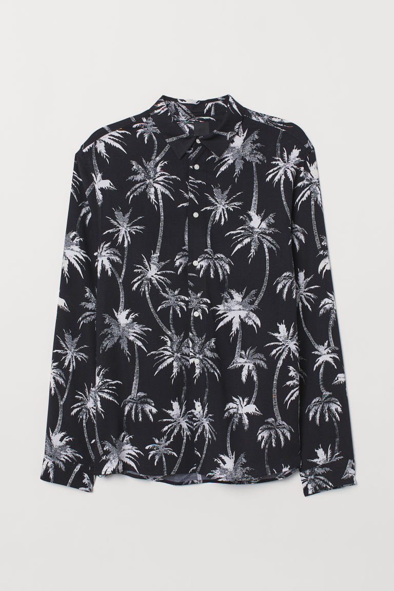 Viscose shirt Slim Fit - Black/Palm trees -  | H&M GB