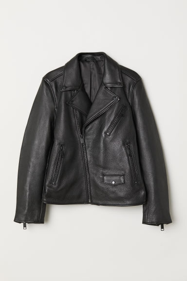 Biker jacket - Black/Black - Men | H&M