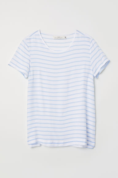 Short-sleeved blouse - White/Light blue striped - Ladies | H&M
