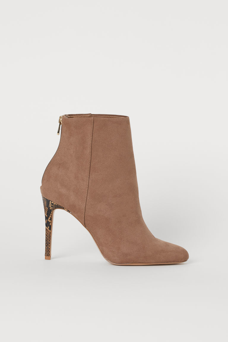Ankle Boots - Beige/snakeskin-patterned - Ladies | H&M US