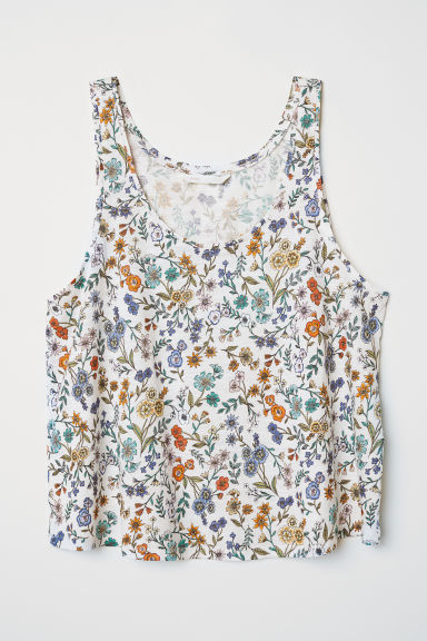 Cropped vest top - White/Floral - Ladies | H&M
