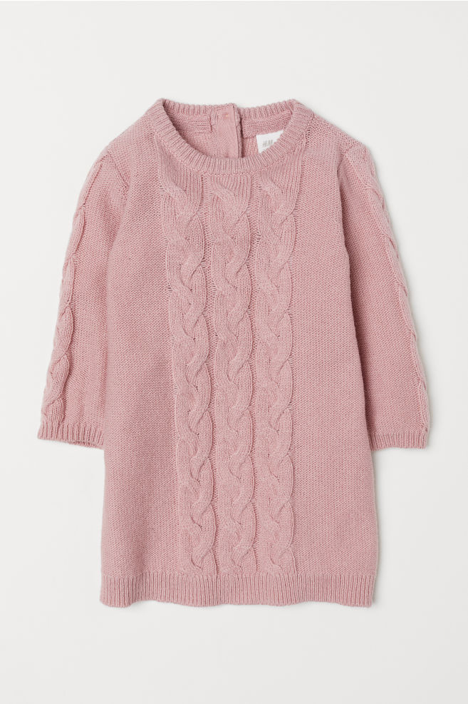 Cable Knit Dress Light Pink Hm Us