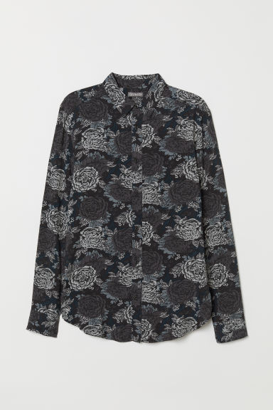 Viscose shirt - Black/Floral - Men | H&M CN