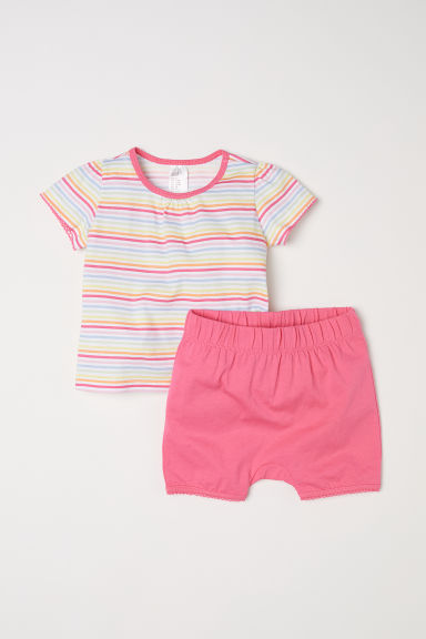 Jersey pyjamas - Pink/Striped -  | H&M
