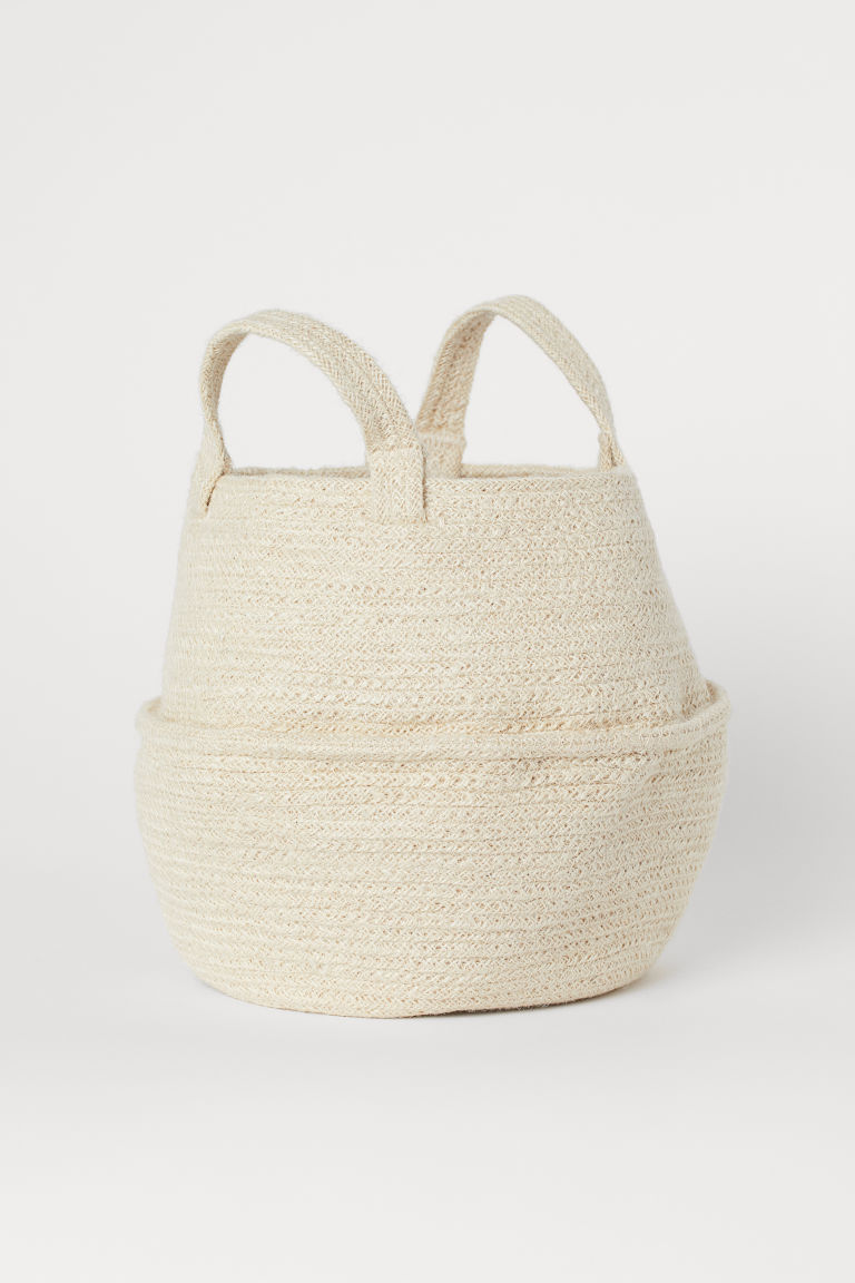 Collapsible Jute Basket - White - Home All | H&M CA