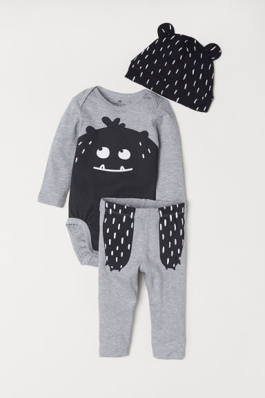3-piece jersey set - Grey marl/Black patterned - Kids | H&M CN