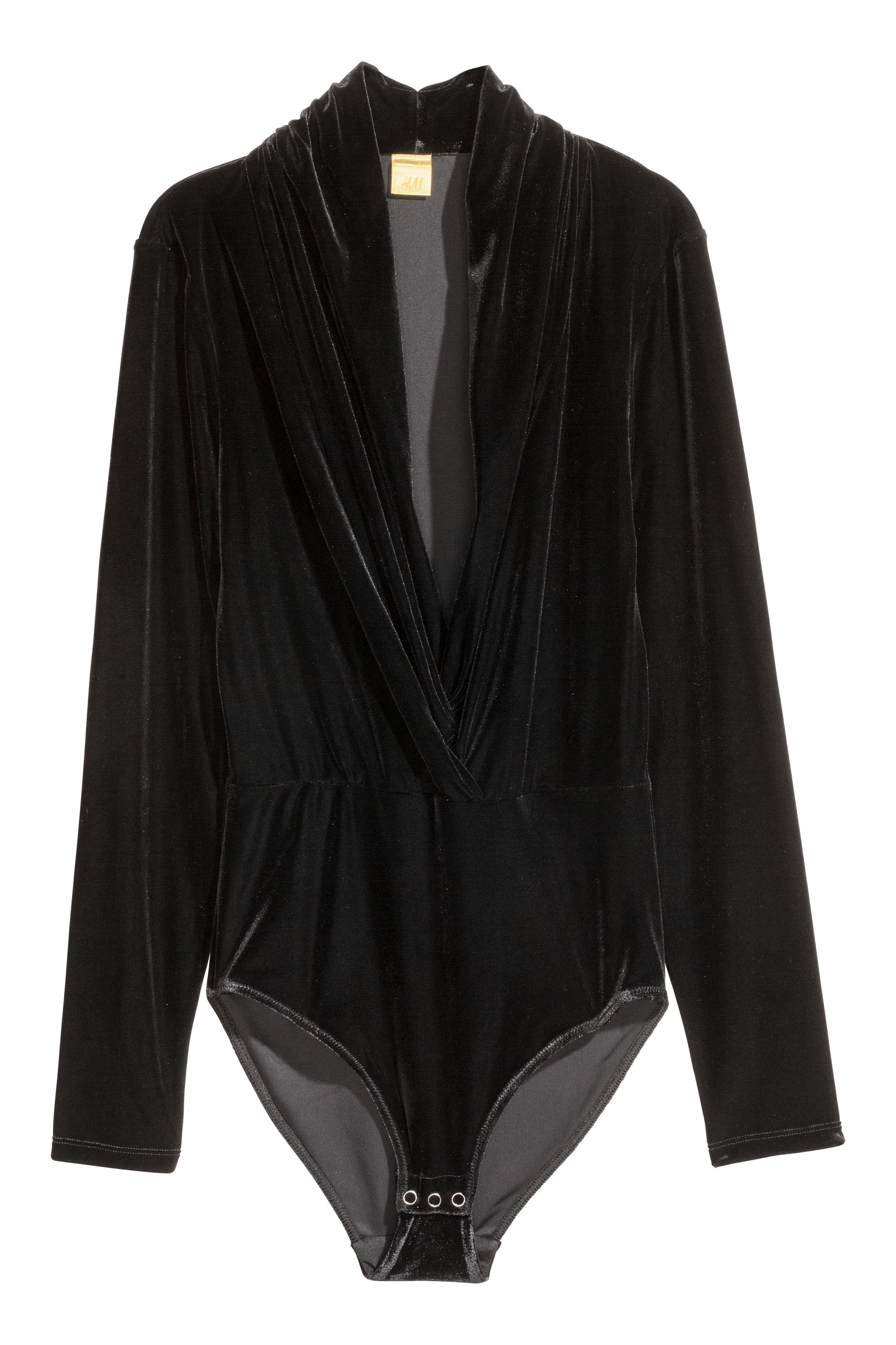 bdb22feb20d8 Velour Bodysuit - Black - Ladies | H&M CA