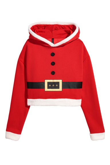 Hooded Christmas top - Red -  | H&M