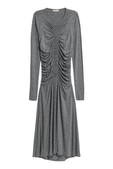 Draped jersey dress - Dark grey marl - Ladies | H&M CN