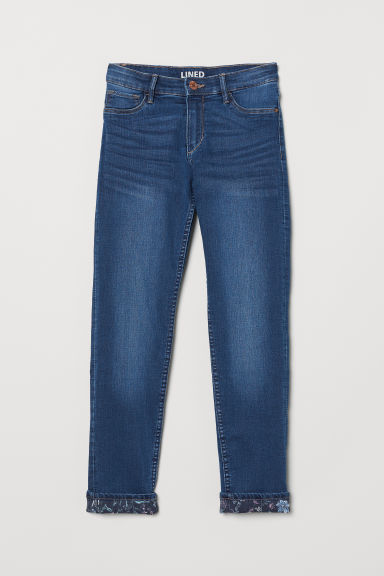 Skinny Fit Lined Jeans - Dark denim blue - Kids | H&M CN