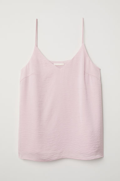 V-neck satin top - Light pink - Ladies | H&M