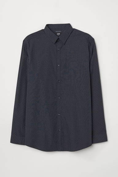 Easy-iron shirt Slim fit - Dark blue/Spotted - Men | H&M CN